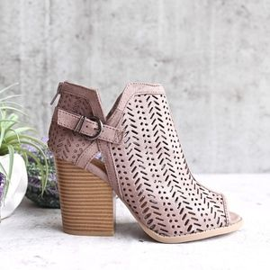 Shoes - Tan Cutout Heeled Open Toe Bootie